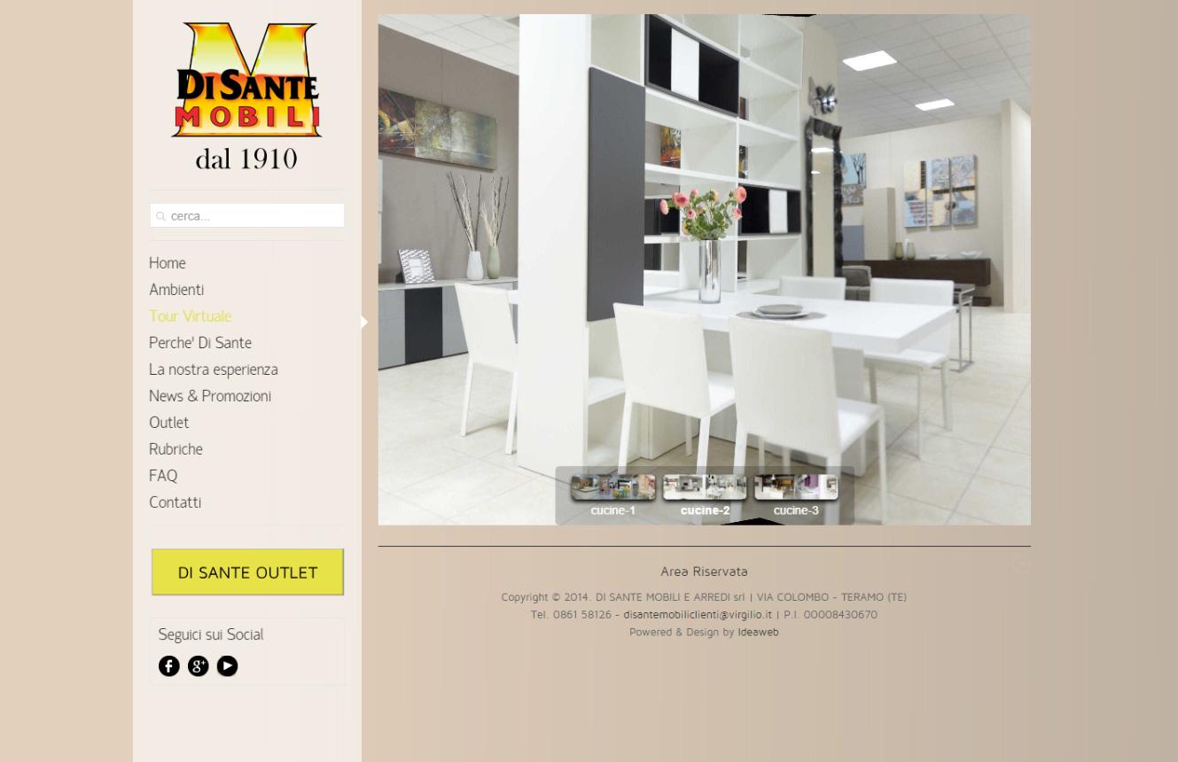 realizzazione sito web con virtual tour e sezione outlet On sito web di mobili di design